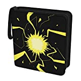Rayvol 4-Pocket Binder Compatible with Pokemon Cards, Fits 480 Trading Cards with Sleeves Include 60 Removable Sheets, Portable Card Collector Album Holder Gift for Boys Girls (Thunderbolt)
