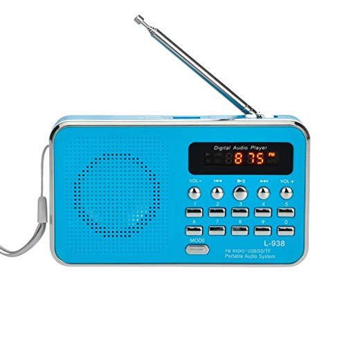 TBTUA Portable Radio, Portable FM Radio Shortwave Radio with Best Reception Support SD Card USB Driver AUX Input MP3 Player Rechargeable Battery (Color : Blue)