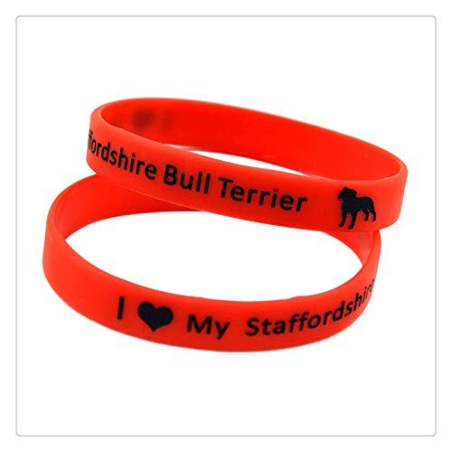 ZWH Suministro de Plataforma de Comercio Exterior Correa de Pulsera de mi Staffordshire Bull Terrier Amor del silicón yo (Color : Red)
