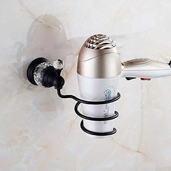 Tungchilan Black Oil Brushed Brass Bathroom Shelf Wall Mounted Hair Dryer Rack Storage Hair Dryer Holder Spiral Stand Holder Multifunctional Storage Box