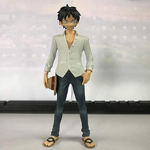 Weißes Hemd Freizeitkleidung Jeans AFFE D. Ruffy Model Desktop Ornament Actionfigur Animierte Charakterstatue, Für Geschenke Und Heimdekoration