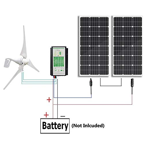 ECO-WORTHY 600 Watts Wind Solar Power: 1pc 12V/24V 400 Watt Wind Turbine Generator + 2pcs 12V 100 Watt Polycrystalline Solar Panel + 24cm Cable with MC4 Connector