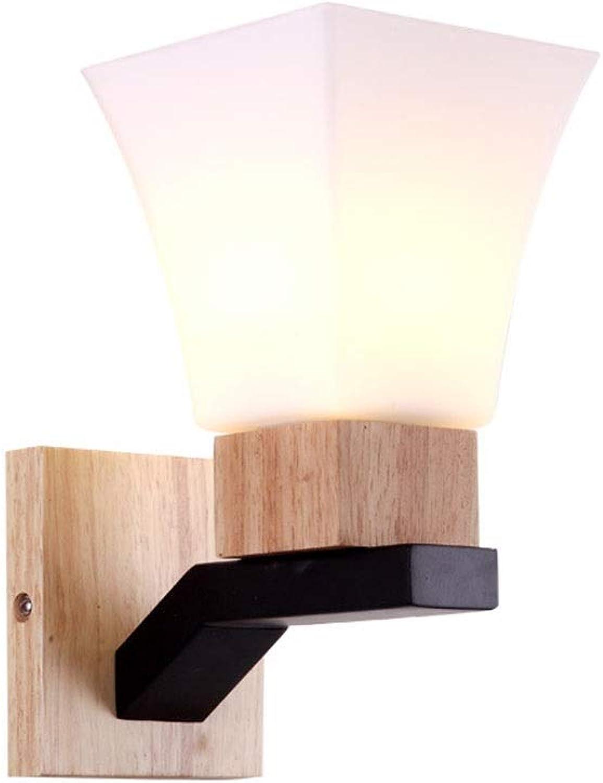 Wandleuchten Wandleuchte führte einfaches Massivholz-Schlafzimmer-Wohnzimmer-Korridor-Lampen-Eisen-Kunstglas