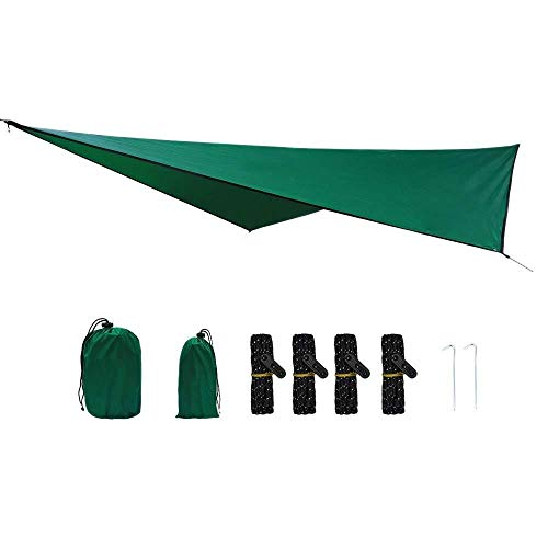 ZUQIEE Hammock Waterproof Hammock Tarpaulin 360x290Cm Outdoor Camping Tent Sun Awning Camping Hammock Awning Outdoor Camping Canopy Weatherproof Sunscreen Fly-Proof Diamond Canopy-Dark Green