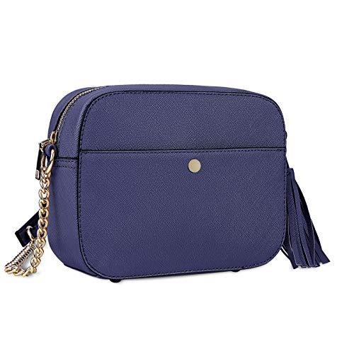 Pequeño Bolso Bandolera Mujer Bolsos de Hombro Cuero PU Elegante Cadena Mensajero Crossbody Bag Trabajo Moda Diario Vida Azul Real