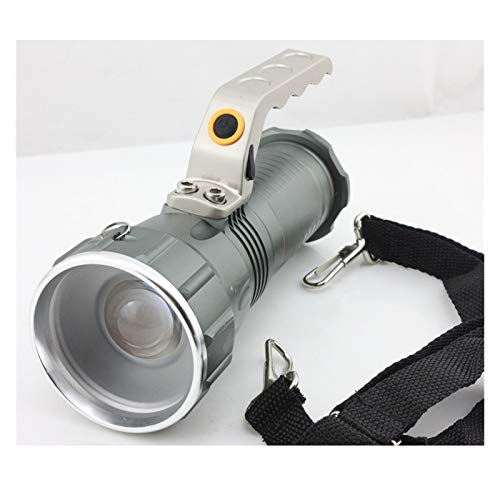 SymArt Flashlight Light Range Searchlight Recargable LED Luz de búsqueda Potente antorcha para Senderismo, Camping, Caza (Emitting Color : White)