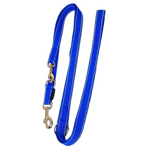 elropet Hundeleine Doppelleine Gurtband reflektierend 20mm 5,00m blau 5fach verstellbar für mittlere und große Hunde