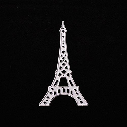AkoMatial Stanzschablone, Eiffelturm-Design, Prägung, Werkzeug, Schablone, Schablone, Schablone, Karten, Scrapbook, Album, Papier, Karten, Basteln, Metall silber