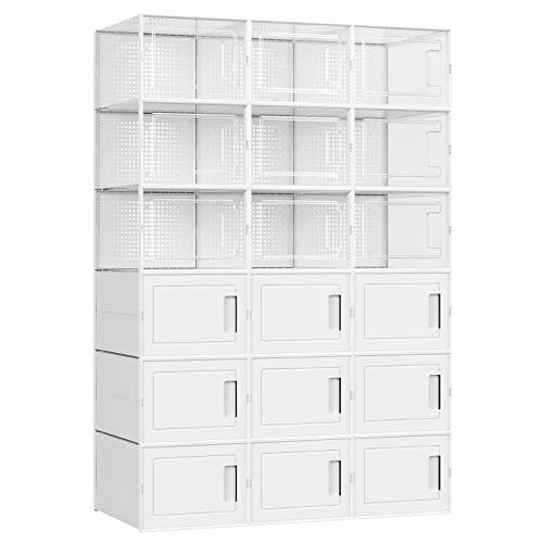 SONGMICS Plastic Shoe Boxes Shoe Storage Organizers Set of 18 Stackable and Foldable for Sneakers Fit up to US Size 95 9 Transparent Bins and 9 White Bins ULSP009W01