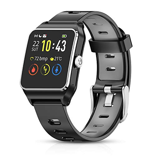 HolyHigh Smartwatch Orologio Fitness GPS Impermeabile IP68 Cardiofrequenzimetro da Polso Smart Watch Braccialetto Fitness Activity Tracker Sport Touch Screen per Donna Uomo Bambini Android e iOS
