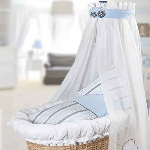 Belily - Juego para moisés, ropa de cuna, dosel y protector de cabeza, equipamiento para: Cuna de cesta, cuna, carro de cesta (con rieles y sin rieles).