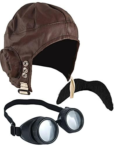 DreamzFit – Pilotenmütze für Herren und Damen, Steampunk, Brille und Schnurrbart im Stil der 40er Jahre, für Erwachsene, Kostümzubehör (Pilotenpiloten-Set)