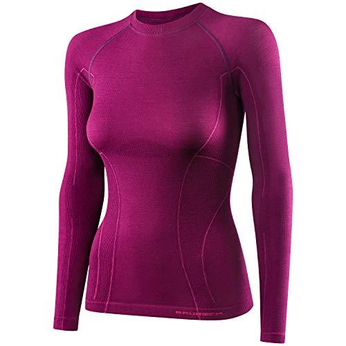 BRUBECK Damen Langarm Funktionsshirt   Atmungsaktiv   Thermo   Sport   Outdoor   Unterhemd   Unterwäsche   41% Merino-Wolle   LS12810, Größe:M, Farbe:Plum.
