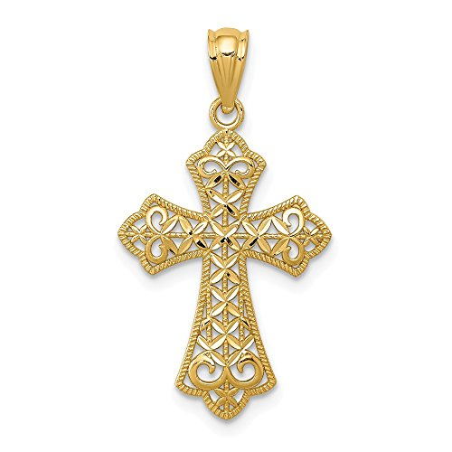 14k Yellow Gold Filigree Cross Religious Pendant Charm Necklace Fleur De Lis Fine Jewelry For Women Gifts For Her