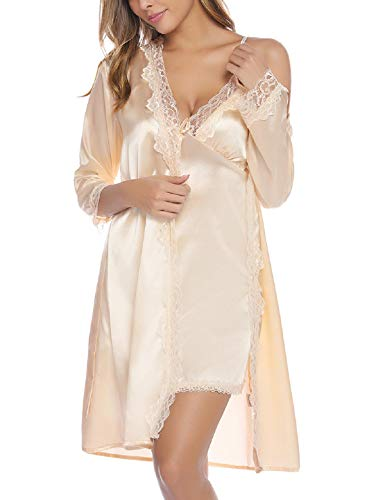 Abollria Women's Sexy Silk Satin Robe Loungewear 2PC Sleepwear Set Kimono Robe Pajama Dress 2 Piece Suit (Champagne, Large)