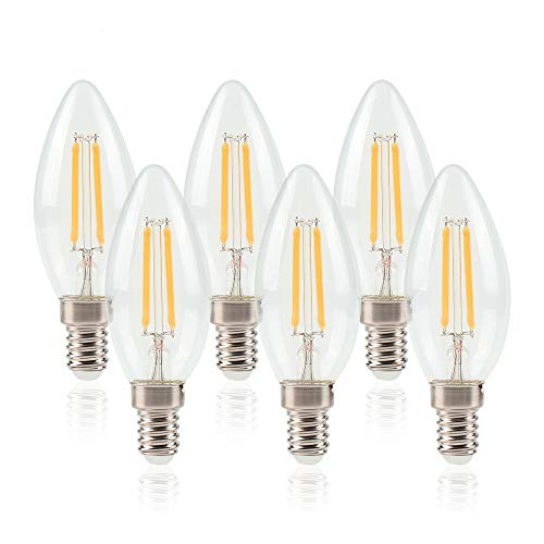 ELINKUME E14 Bombilla LED 6W de Filamento Edison,Equivalente a 50W Blanco cálido 550 lúmenes,Paquete de 6 unidades