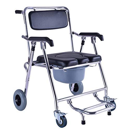 Dbtxwd Duschkabine Mobil mit 4 Bremsen, Rollstuhl, Klappbarer Toilettensitz für ältere Menschen, Transportstuhl