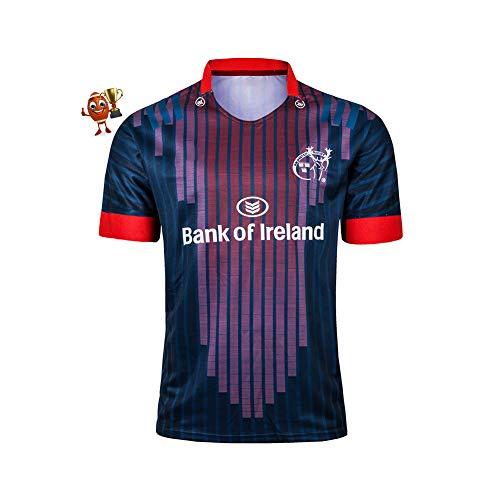 2019 Münster City Rugby Jersey, Herren Trainings Trikot Kurzarm Tops Herren Casual Sports T-Shirt Rugby Kleidung, bequem und atmungsaktiv-red-XL