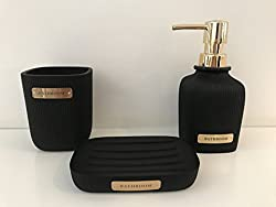 MissDish Set Of 3 Black & Gold Bathroom Set Accessories