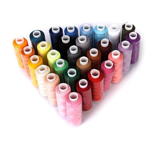 Oulii Lot de 30 bobines de fil à coudre en polyester, couleur aléatoire