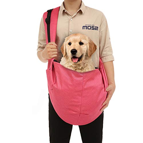 KINMBRA pet Sling Carrier for Dog cat up to 25 pounds Waterproof Tote Papoose Adjustable Padded Shoulder Strap with 3 Pockets for Outdoor Indoor Activity Weekend Travel(Rose red)