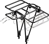 CyclingDeal Bike Bicycle Cargo Rack - Great for 26' 27.5, 700c & 29' Adjustable Touring Rear Back of Bike Carrier - Pannier Luggage Rack with Extended Wings - Light Aluminum - Load Limit 55 lbs/25kg