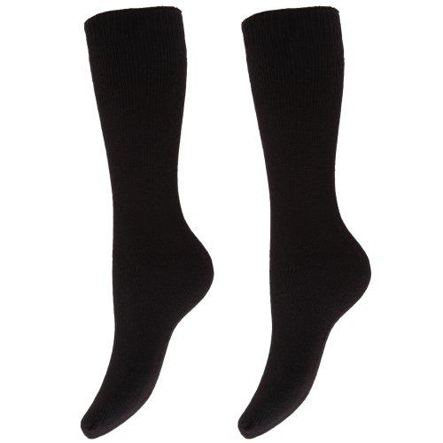 Floso Damen Thermo-Winter-Socken für Gummistiefel, 2 Paar (37-41 EUR) (Schwarz)