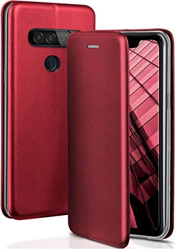 ONEFLOW Handyhülle kompatibel mit LG G8s ThinQ - Hülle klappbar, Handytasche mit Kartenfach, Flip Hülle Call Funktion, Klapphülle in Leder Optik, Weinrot