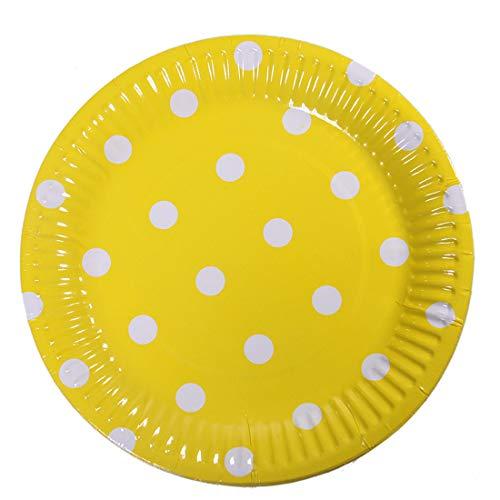 100pcs Degradable,Compostable Fiestas Azul Meowoo Platos de Papel Dot Desechables Set Adecuado para cumplea/ños Bodas,18 cm