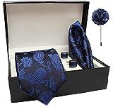 nu-Lite Men's Silk Summer Stain Resistant Necktie, Pocket Square, Cufflinks Set (Blue, Free Size)