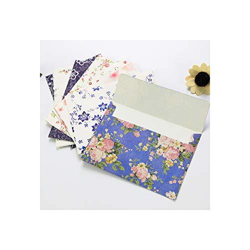 10 sobres de flores con forma de carta con diseño de rosas de cerezo y carta de papel fresco y elegante con diseño floral, color color