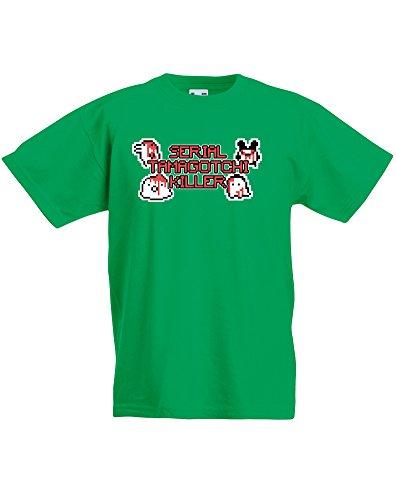 Brand88 Serial Tamagotchi Killer, T-Shirt Bambini - Verde 5-6 Anni