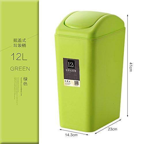 Bacs à ordures extérieurs luoliweiMénage poubelle vide toilettes cuisine chambre créative avec couvercle panier seau de stockage, vert 8L