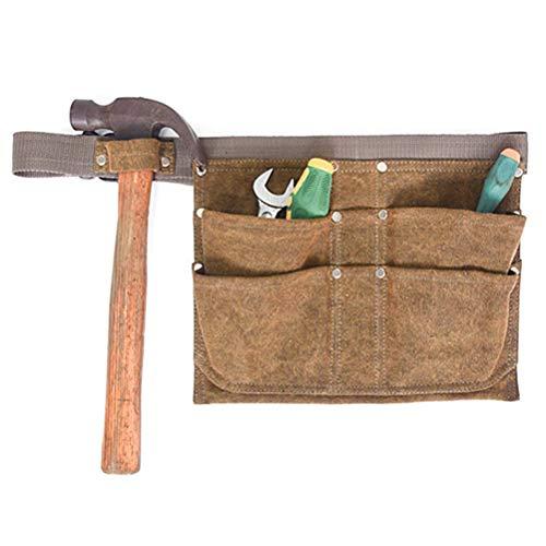 WBTY Delantal de lona ajustable con bolsillos profundos para herramientas de mano, bolsa para colgar
