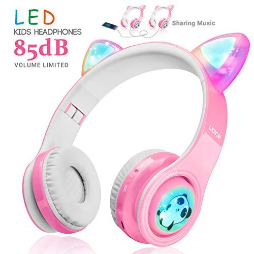 WOICE Kinder Funkkopfhörer, LED-Blinklichter, Musik-Sharing-Funktion, Stereo Sound, SD-Kartensteckplatz und Mikrofon Kabelloser/kabelgebundener Kinderkopfhörer für Jungen und Mädchen(Pink)