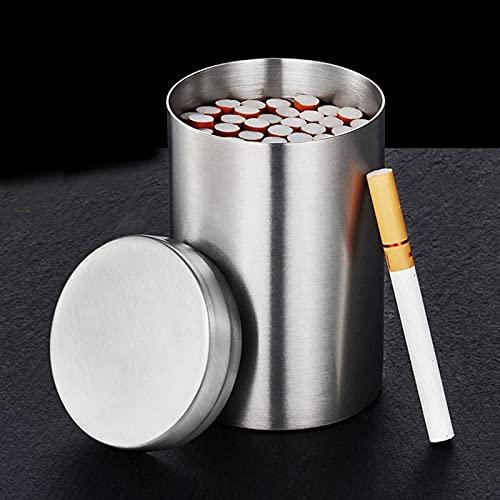 Caja de Cigarrillos de Acero Inoxidable, portátil, de Gran Capacidad, Impermeable, Caja de Cigarrillos, Plata, Resistente a la Humedad y la presión, Puede Contener 50 Cigarrillos para Hombres, Mujer