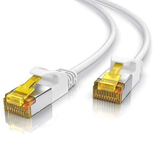 Primewire - 20m - Cable de Red Cat 7 Slim - Gigabit Ethernet LAN - 10000 Mbit s - Blindado S FTP PIMF - Conector RJ45 - para Switch Router Modem PS5 Xbox Series X - Compatible Cat 6 Cat 8 - Blanco