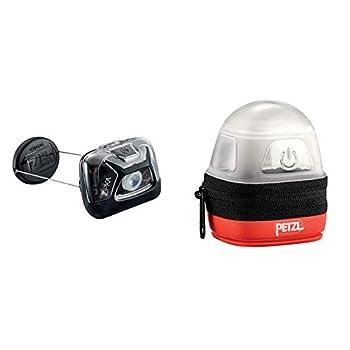 PETZL Lampe Frontale Zipka, Mixte Adulte, Noir, Taille Unique & NOCTILIGHT - étuis pour équipements, TIKKINA, Tikka, ZIPKA, TACTIKKA +RGB, 85 g, Noir/Orange