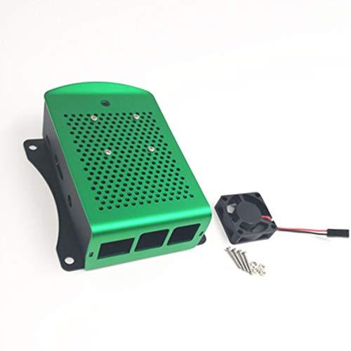 nbvmngjhjlkjlUK Custodia in Alluminio Custodia in Metallo con Ventola Argento Verde Rosso Custodia Nera per Raspberry Pi 2 3 Modello B + (Verde)