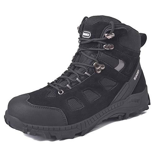 SUADEX Zapatos de seguridad para hombre y mujer, botas de seguridad altas, para invierno, con puntera de acero, 37-48 EU, color Negro, talla 45 EU