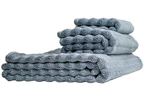 Nutrl Home Classic Bath Towel Set - Antimicrobial 100% Supima Cotton (Blue) Premium Luxury Bath, Hand, Washcloth Towels Perfect for Hotels, Travel, Bathrooms, Spa, and Gym
