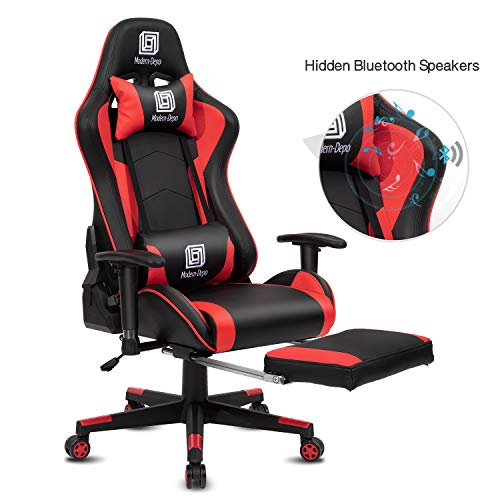 Modern-Depo High-Back Swivel Gaming Chair Recliner with Bluetooth 4.1 Speakers, Footrest, Headrest and Lumbar Support | Height Adjustable Ergonomic Office Chair - Black & Red chair gaming