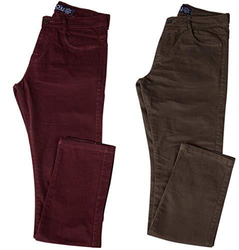 Kit com Duas Calças Masculinas Jeans e Sarja Coloridas com Lycra - Vinho e Verde - 44
