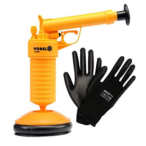 Herramienta de Limpieza de desague tuberias VOREL – para inodoros Baneras, Duchas , desbliqueo de tuberias de desague, dos diámetros: 63 mm y 135 mm + Guantes de trabajo de nailon