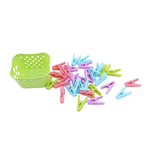 M I A Pinzas para ropa, pinzas de plástico, resistentes al viento, 12 unidades (color verde)
