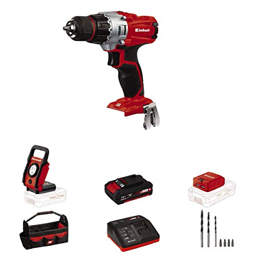 Einhell TE-CD Power X-Change 18-Volt Cordless 1250-RPM MAX 2-Speed 20+1-Torque Setting Workshop Drill/Driver Kit, w/Tool Bag, LED Lamp, Drill Bits, Keyless Chuck, Kit (1.5-Ah Battery + Fast Charger)