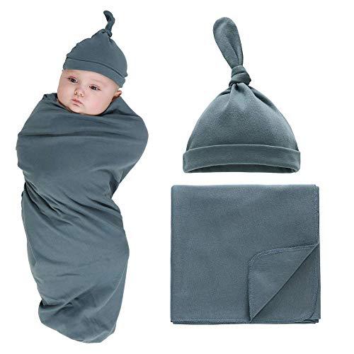 Newborn Baby Swaddle Blankets Sets 2-Pack Infant Boy Girls Receiving Blankets Sacks Beanie Blankets Wraps Baby Registry Gifts 0-6 M Dark Green