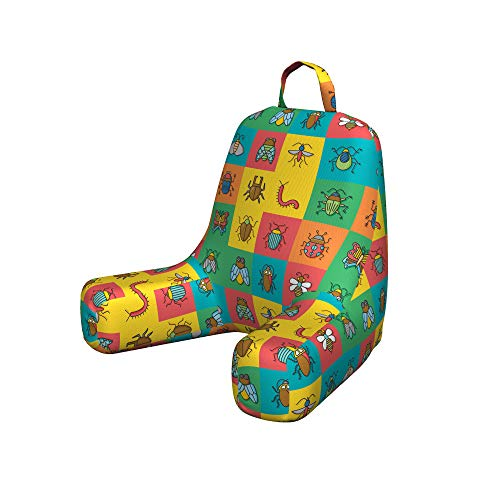 Ambesonne Colorful Reading Pillow Cover, Cartoon Image of Bugs as Bumblebee Ladybug Mosquito Dung Bettle in Square Tiles, Unstuffed Printed Bed Rest Case from Soft Fabric, Small, Multicolor