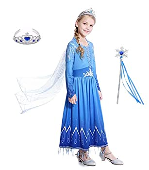 Girls Ice Queen 2 Dress - Blue Halloween Birthday Party Cosplay for Little Child Kid Teen 3-12 Years