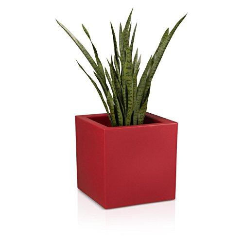 Pflanzkübel DECORAS Kunststoff Pflanztröge – versch. Größen – rot matt – frostsicher & UV-beständig (8 Jahre Garantie) – TÜV-geprüfte Qualität – Premium Blumenkübel
